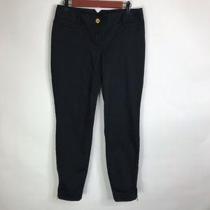 Express Dress Pants Zipper Ankle Black Gold Detail